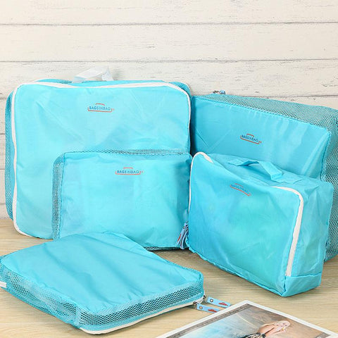 2017 5 pcs/set Fashion Double Zipper Waterproof Polyester Men and Women Luggage Travel Bags - Vietees Shop Online