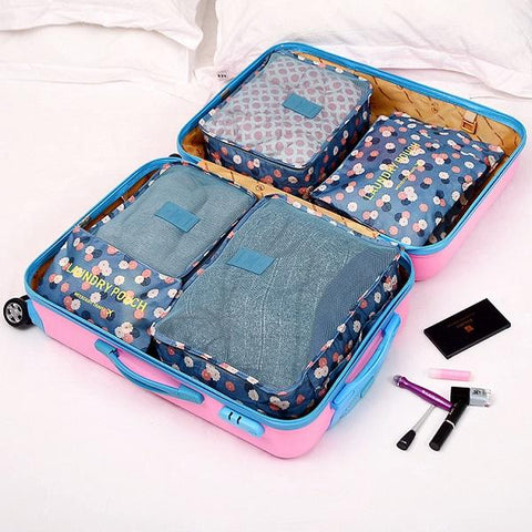 6 Pieces/Set Nylon Packing Cubes 2017 Luggage Travel Bag Floral Dot Large Capacity Of Bags