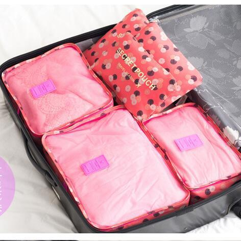 6 Pieces/Set Nylon Packing Cubes 2017 Luggage Travel Bag Floral Dot Large Capacity Of Bags - Vietees Shop Online