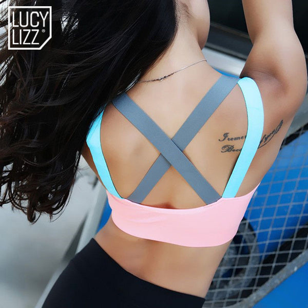 Fitness Yoga Push Up Sports Bra for Womens Gym Running Padded Tank Top Athletic Vest Underwear Shockproof Strappy Sport Bra Top - Vietees Shop Online
