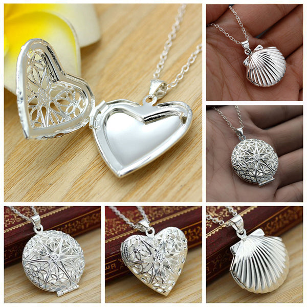 Valentine Lover Gift Hollow Out Water Drop Shell Photo Frames Can Open Locket Necklaces - Vietees Shop Online