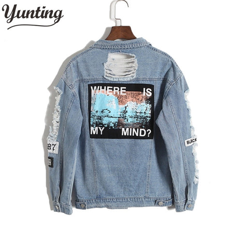 Vintage Fashion Wash Water Distrressed Denim Jacket Embroidery Letter Loose Back - Vietees Shop Online