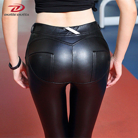 Women Sexy Push Up Leather Leggings Elastic Sports Pants Fitness Yoga Pants Running Tights Waterproof Sportswear Sport Clothing - Vietees Shop Online