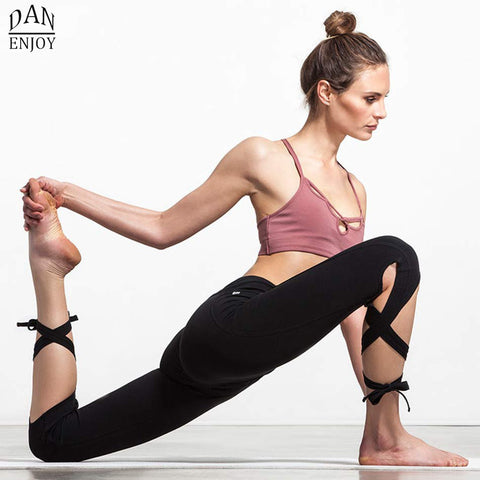 DANENJOY Women Ballerina Yoga Pants Sport Leggings High Waist Fitness Cross Yoga Ballet Dance Tight Bandage Cropped Pants Sports - Vietees Shop Online
