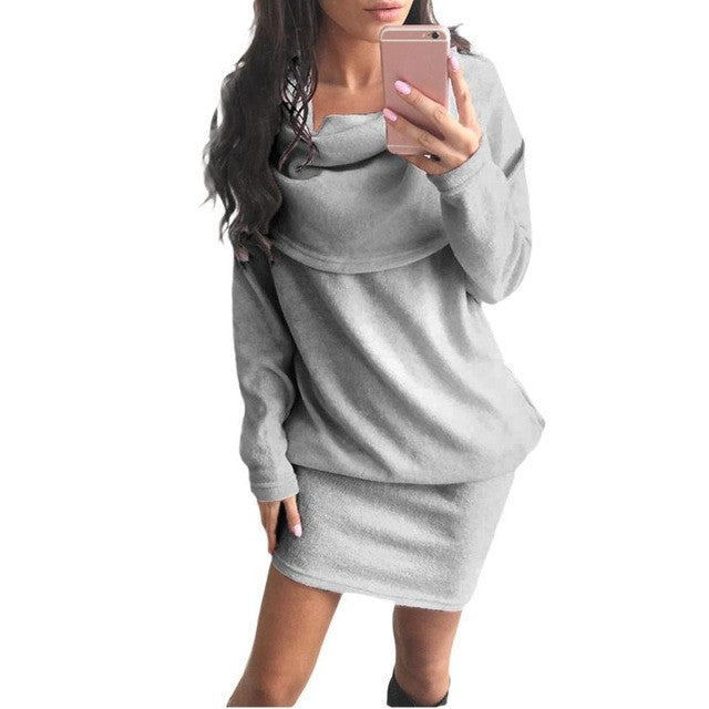 Autumn Winter Fashion Women Dress Long Sleeve Bodycon Lapel Sweater - Vietees Shop Online