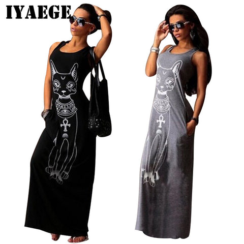 IYAEGE Cat Print Long Maxi Dress 2017 Summer Sundresses Boho Sleeveless Sexy Beach Dresses Women Bodycon Dress Vestidos Mujer - Vietees Shop Online