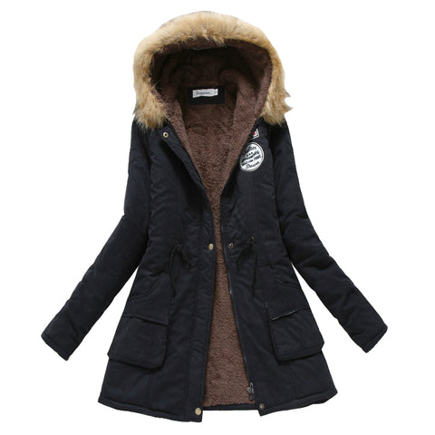 Winter Coat Women 2017 New Parka Casual Outwear Military Hooded Thickening Cotton Coat Winter Jacket Fur Coat - Vietees Shop Online