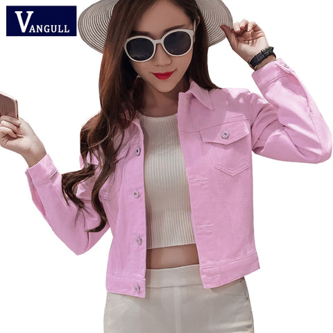 Denim Jacket Women Short Jeans Overcoat Ladies Jackets Tops Turn Down Collar Slim - Vietees Shop Online