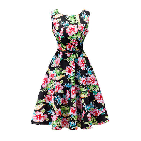 Kostlich 2017 Summer Dress Women Cotton Floral Print 50s 60s Vintage Dress With Belt Sleeveless Elegant Party Dresses Sundress - Vietees Shop Online