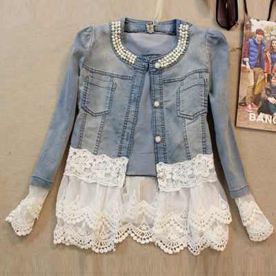 HEE GRAND Jeans Jacket Women Casacos Feminino Slim Lace Patchwork Beading Denim Lady - Vietees Shop Online