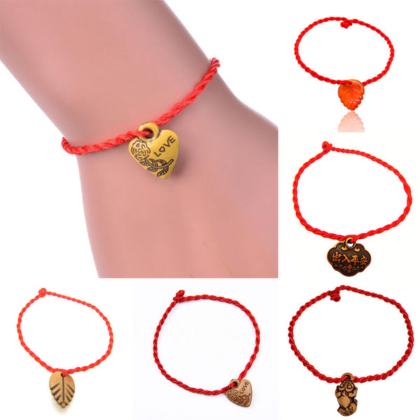 New Arrival Decent Heart Leaf Animal Lock Lovers' Braided Red Rope Bracelets Valentine Gift - Vietees Shop Online