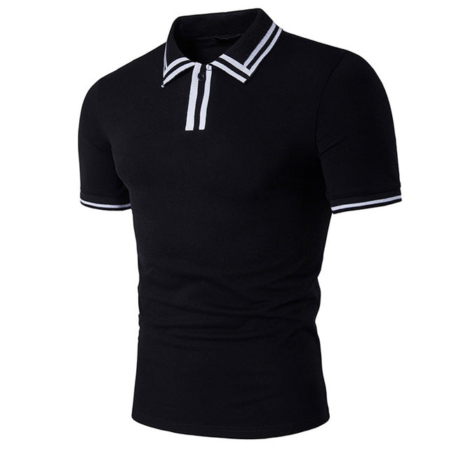 Slim Fit White Polo Shirts Mens Short Sleeve Striped Collar Casual POLOS Shirt Tops Men - Vietees Shop Online