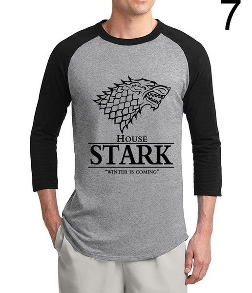 Game of Thrones House Stark Winter Is Coming 3/4 sleeve t shirts men 2017 summer cotton raglan men t-shirt loose fit top tees - Vietees Shop Online