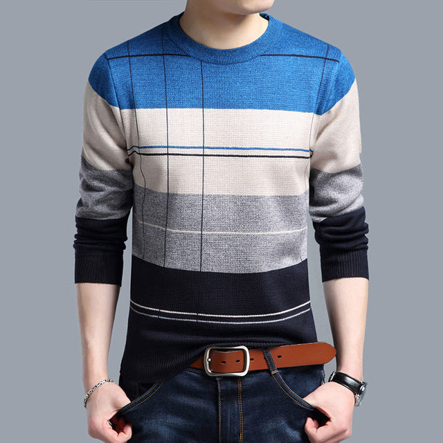 2017 brand social cotton thin men's pullover sweaters casual crocheted striped knitted sweater - Vietees Shop Online