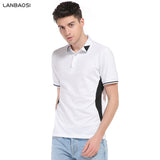 Slim Fit White Polo Shirts Mens Short Sleeve Striped Collar Casual POLOS Shirt Tops Men Polo - Vietees Shop Online