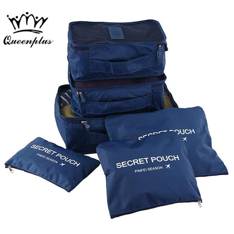 6pcs/set Fashion Double Zipper Waterproof Polyester Men and Women Luggage Travel Bags - Vietees Shop Online