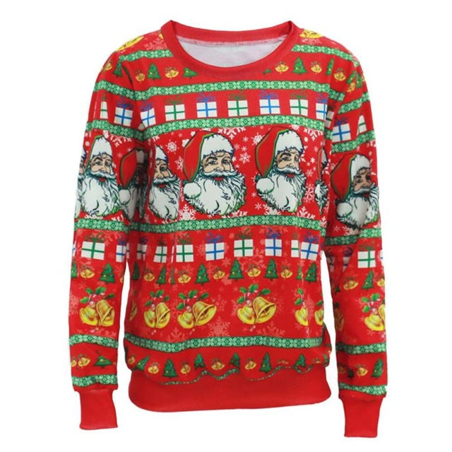 Unisex Sweaters Fashion Santa Claus X-mas Tree Reindeer Patterned Sweater Ugly Christmas Sweaters - Vietees Shop Online