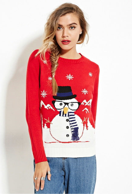 New autumn winter pullover sweaters women cute snowman ugly christmas sweater red christmas sweater - Vietees Shop Online