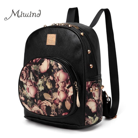women backpack school bag rivet teenage backpacks for girls leather 3D Printing backpack laptop - Vietees Shop Online