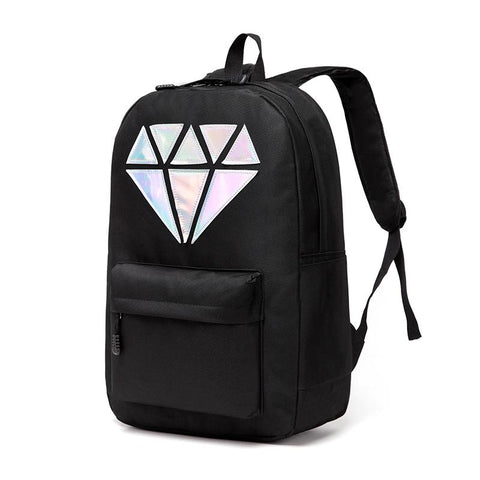 Women Backpack Schoolbag Teenage Backpacks For Girls Holographic Canvas Men Backpack - Vietees Shop Online