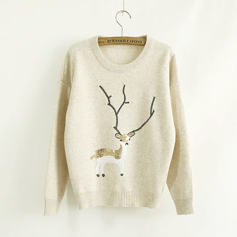 2017 Ugly Sweater Rabbit Hair Women Knitted Animal Prints Pullover Sweater Warmer Winter Reindeer Christmas