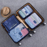 Nylon Packing Cube Travel Bag System Durable 6 Pieces One Set Large Capacity Of Unisex Clothing - Vietees Shop Online