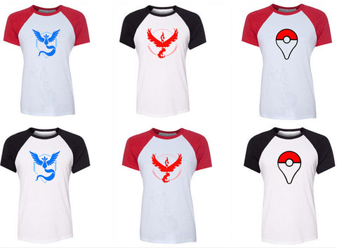 2016 T-shirt Pokemon Go Plus Poke Ball PokeBall Catch Pikachu Art Pattern Raglan Short Sleeve women T shirt Tee Tops - Vietees Shop Online