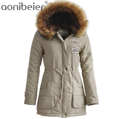 Winter Women Jacket Artificial Fur Collar Hooded Coat Warm Jacket Female Outerwear Casual Long Down Cotton Coats - Vietees Shop Online