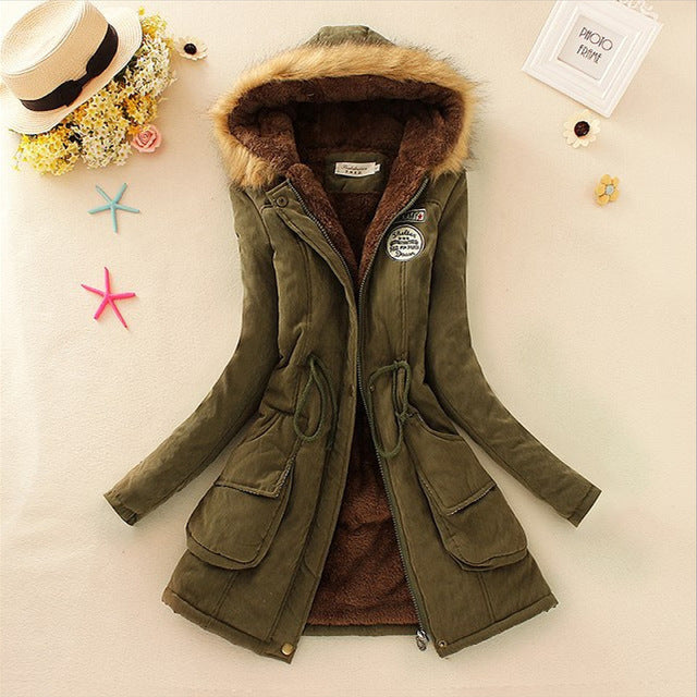 Women Coats Fashion Autumn Warm Winter Jackets Women Fur Collar Long Parka Plus Size Hoodies Cotton Outwear - Vietees Shop Online