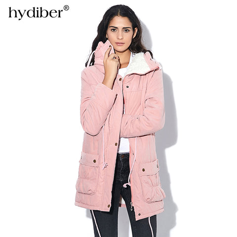 New 2017 Winter Coat Women Slim Plus Size Outwear Medium-Long Wadded Jacket Thick Hooded Cotton - Vietees Shop Online