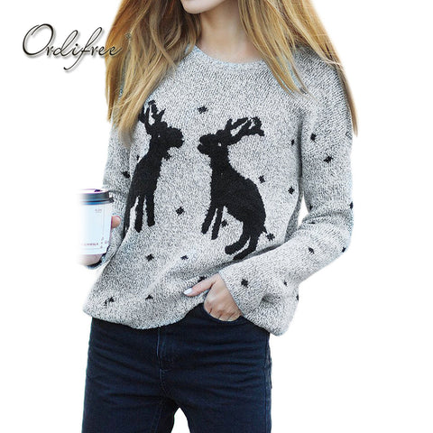 Ordifree 2017 Ugly Christmas Sweater Knitted Pullover Autumn Winter Knitwear Deer - Vietees Shop Online