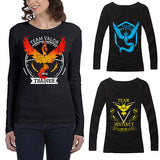 Women Black Pokemon Go T-Shirts Team Valor Team Mystic Team Instinct Long Sleeve Pokeball Tops Tee shirt Fashion - Vietees Shop Online