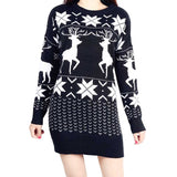 EVENLIM 2017 christmas knitted cashmere sweater dress women warm cute long sleeve ladies sweaters with deers - Vietees Shop Online