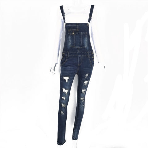 Women Adjustable Strap Ripped Denim Overalls Jean Jumpsuits Suspender Trousers - Vietees Shop Online