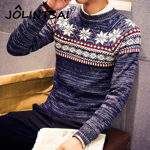 2017 Christmas Sweater New Autumn Fashion Brand Casual Jacquard Male Sweater O-Neck Slim Knitted Men's Sweaters - Vietees Shop Online
