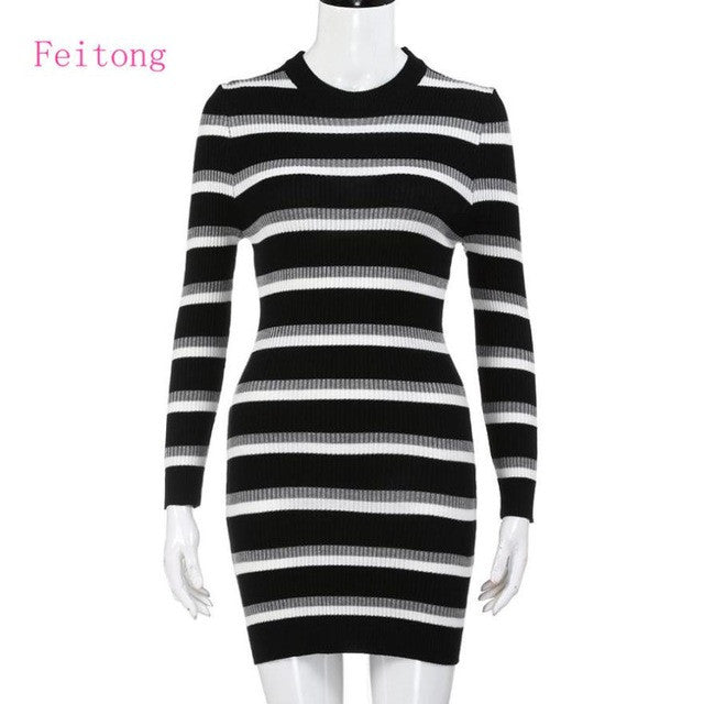 Autumn Winter Dress Women Long Sleeve White Black Striped Cardigan Casual knitting Sweater - Vietees Shop Online