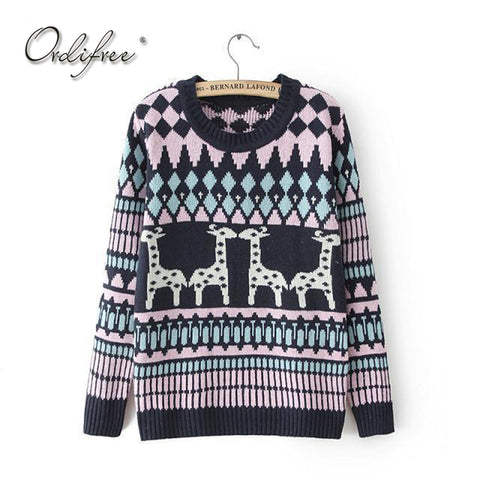 Ordifree 2017 Autumn Winter Ugly Christmas Sweater Knitted Pullover Knitwear Deer Geometric - Vietees Shop Online