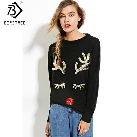 Warm Sequin Knitted Sweater Pullover 2017 Fall Winter Knitwear Soft Black Deer Ugly Christmas Sweater - Vietees Shop Online