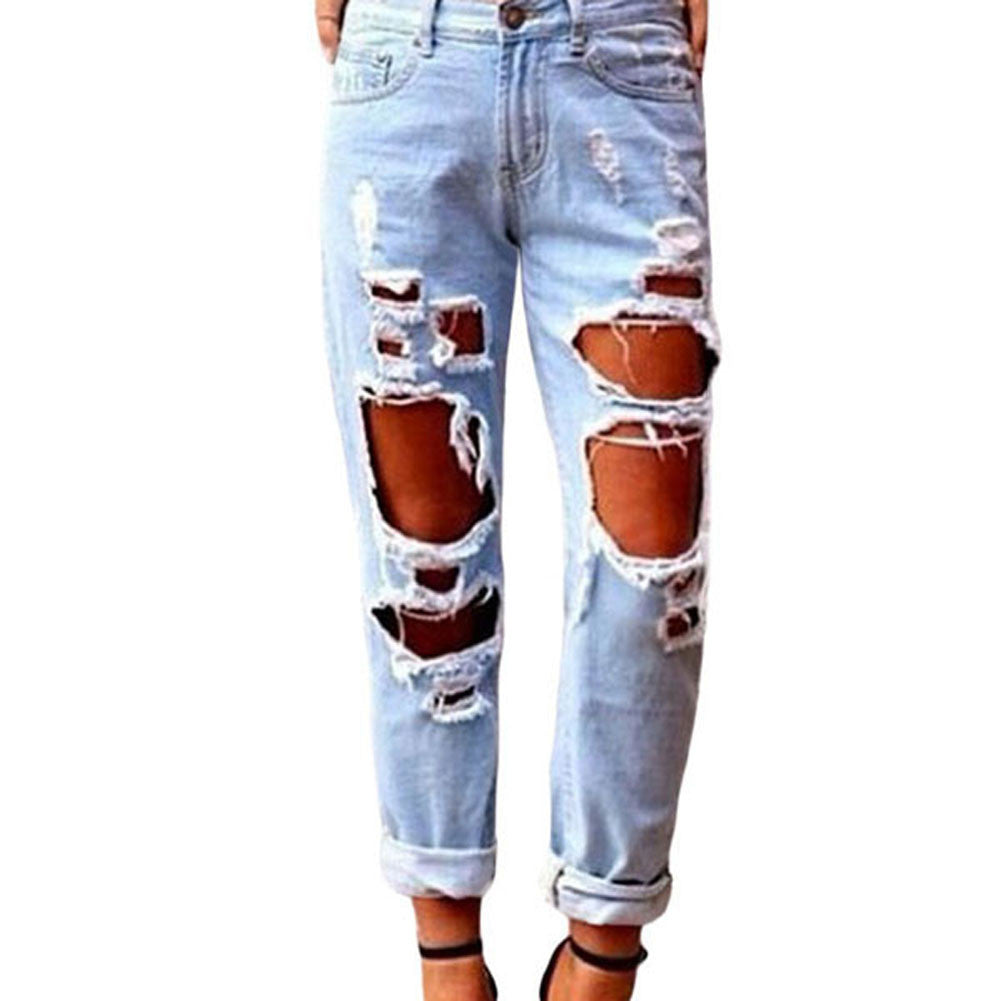 Womens Glistening Ripped Jeans Destructed Hole Denim Trousers Light - Vietees Shop Online