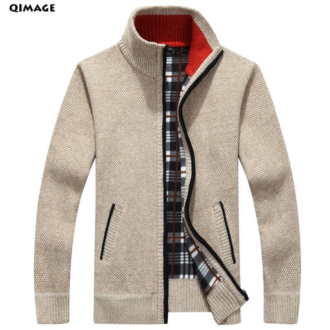 Men's Sweaters Autumn Winter Warm Cashmere Wool Zipper Pullover Sweaters - Vietees Shop Online