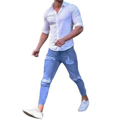 Men's Stretchy Ripped Skinny Biker Jeans Destroyed Taped Slim Fit Denim Pants - Vietees Shop Online