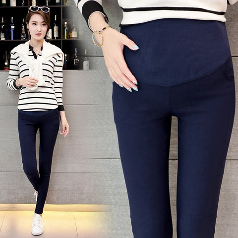 Spring Belly Skinny Maternity Legging in Elastic Cotton Adjustable Waist Pencil Pregnancy Pants - Vietees Shop Online