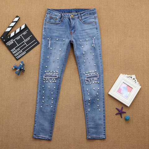 Women Denim High-Waist Ripped Stretchy Hole Pencil Pants Jeans Trousers - Vietees Shop Online