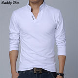 polo shirt long sleeve men cotton White black V Neck funny 2017 shirts brand slim fit - Vietees Shop Online