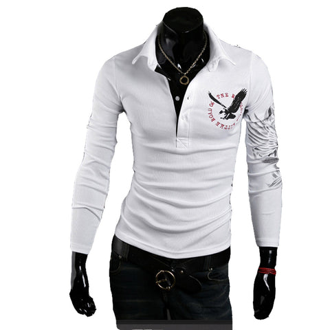 New brand Polo Men's long Sleeve T Polo Slim Fit Fashion Eagle Printed on the back - Vietees Shop Online
