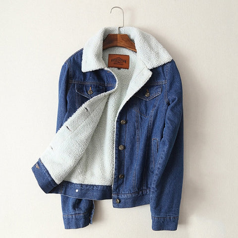 New 2018 Denim Jacket Women lambswool jean Coat With 4 Pockets Long Sleeves Warm Jeans Coat