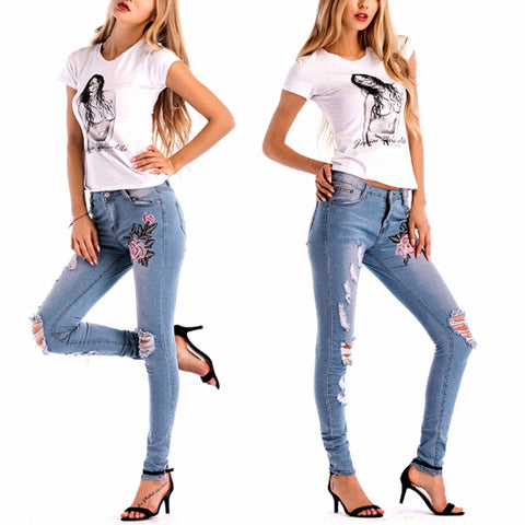 Sexy Womens Skinny Denim Floral Stylish Jeans Casual Holes Denim Pants - Vietees Shop Online