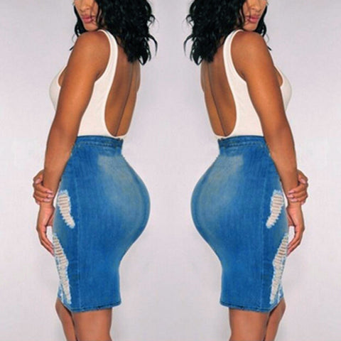Women Stretch Bodycon Pencil High Waisted Hole Denim Jeans Short Mini Skirt - Vietees Shop Online