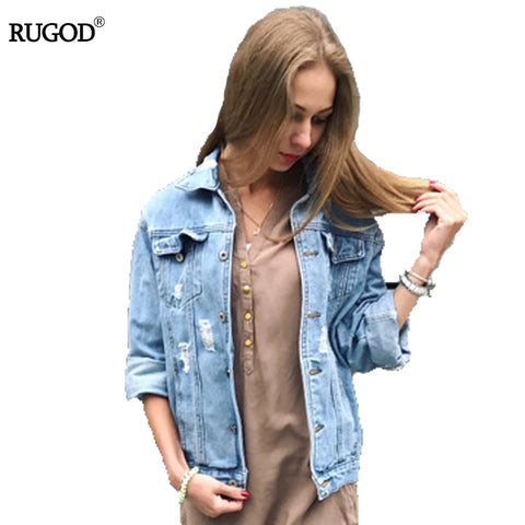 Rugod Women Basic Coats 2018 Spring Summer Ripped Denim Jacket Femme Vintage - Vietees Shop Online