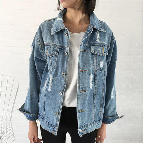 Rugod Women Basic Coats 2018 Spring Summer Ripped Denim Jacket Femme Vintage